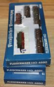 Fleischmann boxed HO train sets: 4890, 4891 and 4892