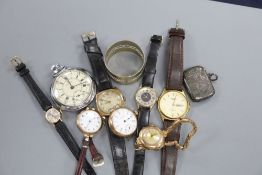 Five assorted 9ct gold wrist watches including Tavannes, two other watches, a pocket watch, silver