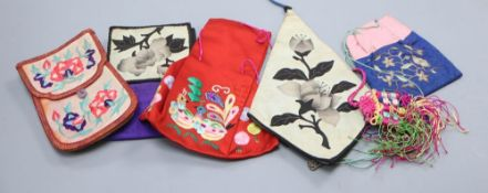 Five various mid 20th century embroidered and applique Chinese purses, pouches and pocketsCONDITION: