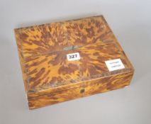 A Regency blonde tortoiseshell veneered sewing box