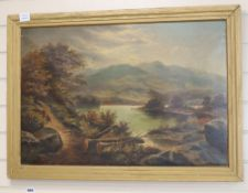 E. L. circa 1900, oil on canvas, Lake scene, monogrammed, 50 x 75cm