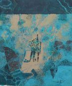 An Indonesian Batik panel, Abstract, indistinctly signed, 87 x 72cm, unframed