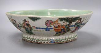 A Chinese famille rose lozenge bowl, length 26cm