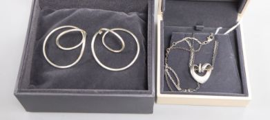 A Georg Jensen pair of sterling silver 'swing' earrings, No. 554B, Alliance Collection and a 'Double
