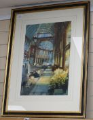 Alexander Creswell (1957-), watercolour, Leadenhall Market, signed, 53 x 37cm