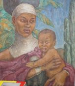 Grace English (1891-1956), oil on canvas, Portrait of an African mother and child, signed, 60 x