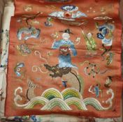 Two pairs of Chinese embroidered panels, embroidered on cream silk with all over multi-coloured