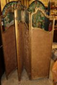 An early 20th century French giltwood and gesso glazed four fold dressing screen, H.182cm