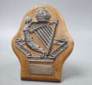 A George V silver mounted presentation plaque for the North Irish Horse, Walker & Hall Sheffield
