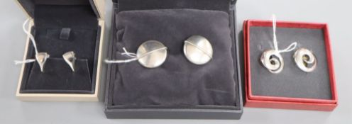 Vivianna Torun for Georg Jensen, a pair of sterling silver 'swirl' design ear clips and two other
