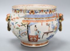 A Chinese enamelled porcelain bowl, Yongzheng period, French ormolu handles, height 17cm (a.f.)