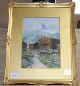 Rudolf Kargl (1878-1942), watercolour, 'Zermatt', signed, 29 x 20cm