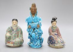 Three Chinese porcelain figures, tallest 18.5cm