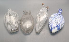 Four Nailsea glass flasks
