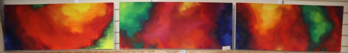 A set of three contemporary abstract oils on canvas, 41 x 100cm, unframed