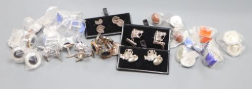 Five pairs of white metal novelty cuff links and sixteen pairs of white metal and stone/glass
