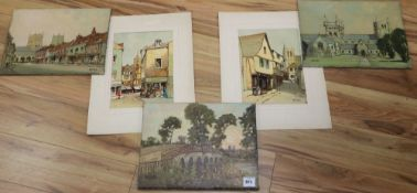 Godwin Bennett (1888-1950), three views of Wimborne, Dorset, oil on canvas. including Wimborne