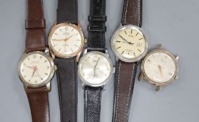 A gentleman's stainless steel Farisa Super Automatic wrist watch and four other gentleman's wrist