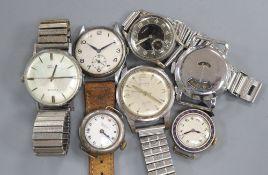 Seven assorted wrist watches including Elmas, Everite and Rodania.