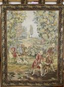 An Aubusson style machine woven hanging tapestry depicting a hunting party, with pole