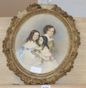 Victorian School, watercolour and pencil, Portrait of three children, indistinctly signed, 30 x
