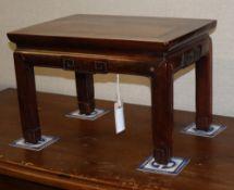 A 19th century Chinese hongmu table, W.41cm, D.31cm, H.28cm