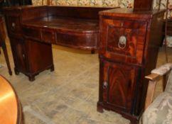 A Regency mahogany pedestal sideboard, W.188cm, D.54cm, H.97cm
