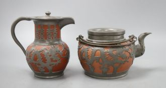 A Chinese Yi Xing teapot and hot water pot, tallest 15cm