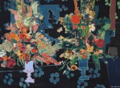 Roger Bezombes (1913-1994), printed fabric panel, Still life of flowers in urns, signed, unframed,