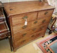 A George III mahogany chest of two short and three graduated long drawers, W.104cm