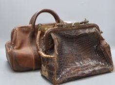 Two Gladstone type bags, one in crocodile skin