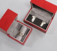 Kim Naver for Georg Jensen, a sterling silver 'heart' ring, No. 320 and a pair of 'heart' earrings
