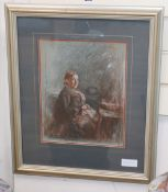 French School (19th century), portrait of a seated elderly lady, pastel, 33 x 26cm