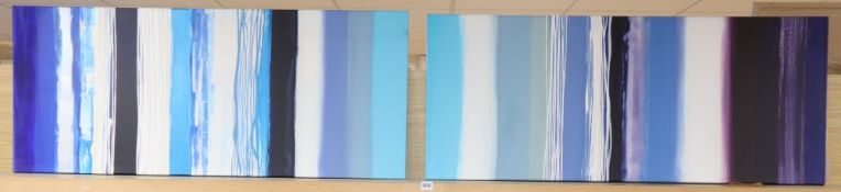 A pair of modern abstract oils on canvas, indistinctly signed verso, 50 x 122cm, unframed
