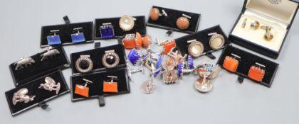 Three pairs of white metal figural cufflinks and eighteen pairs of white metal and stone/glass