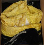 A 19th century black velvet ladies bodice, a yellow silk damask skirt, two gentlemen's waistcoats
