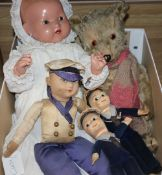 Three Nora Welling Sailor Boy dolls, a plush Teddy bear and an open mouthed doll