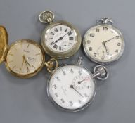 A chrome cased Omega stopwatch and three assorted pocket watches.