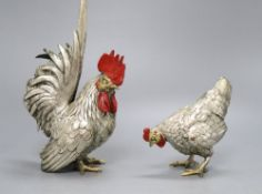 A pair of Japanese patinated metal chickens