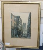 F. L. Tavare, watercolour, Street scene, signed, 30 x 23cm