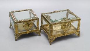 A pair of Continental gilt glazed caskets, widest 14cm height 10cm