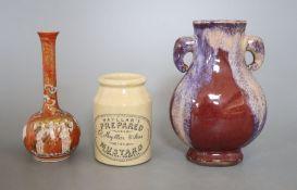 A Sang de Boeuf vase, a Kutani vase and a pottery mustard pot, tallest 16cm