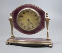 A George V silver and guilloche enamel desk timepiece, Birmingham, 1926, height 97mm.