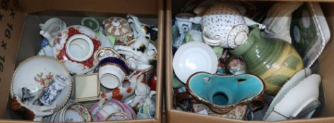 Two boxes of mixed 19th and 20th century ceramics
