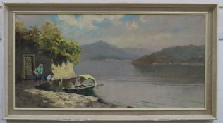 G. de Giorgi, oil on canvas, Italian lake scene, signed, 39 x 79cm