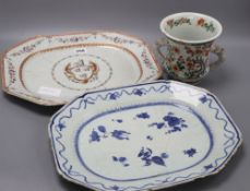 A Chinese two handled cup, height 14cm, a Qianlong blue and white dish and an armorial