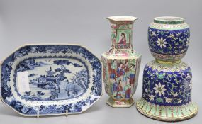 A Chinese blue and white meat dish, a Cantonese vase and another piece, tallest 24cmCONDITION: The