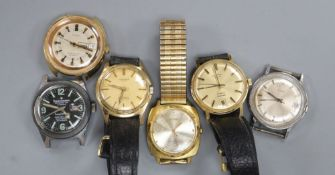 Six assorted gentleman's wrist watches including Timex, Rotary and Forster.