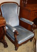 An early Victorian rosewood blue upholstered open armchair, W.72cm, D.80cm, H.102cm