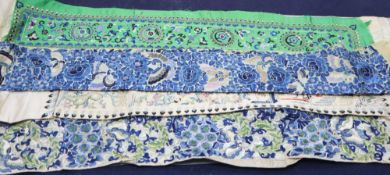 Three heavily embroidered 19th century Chinese sleeve bands, decorated all over with motifs in